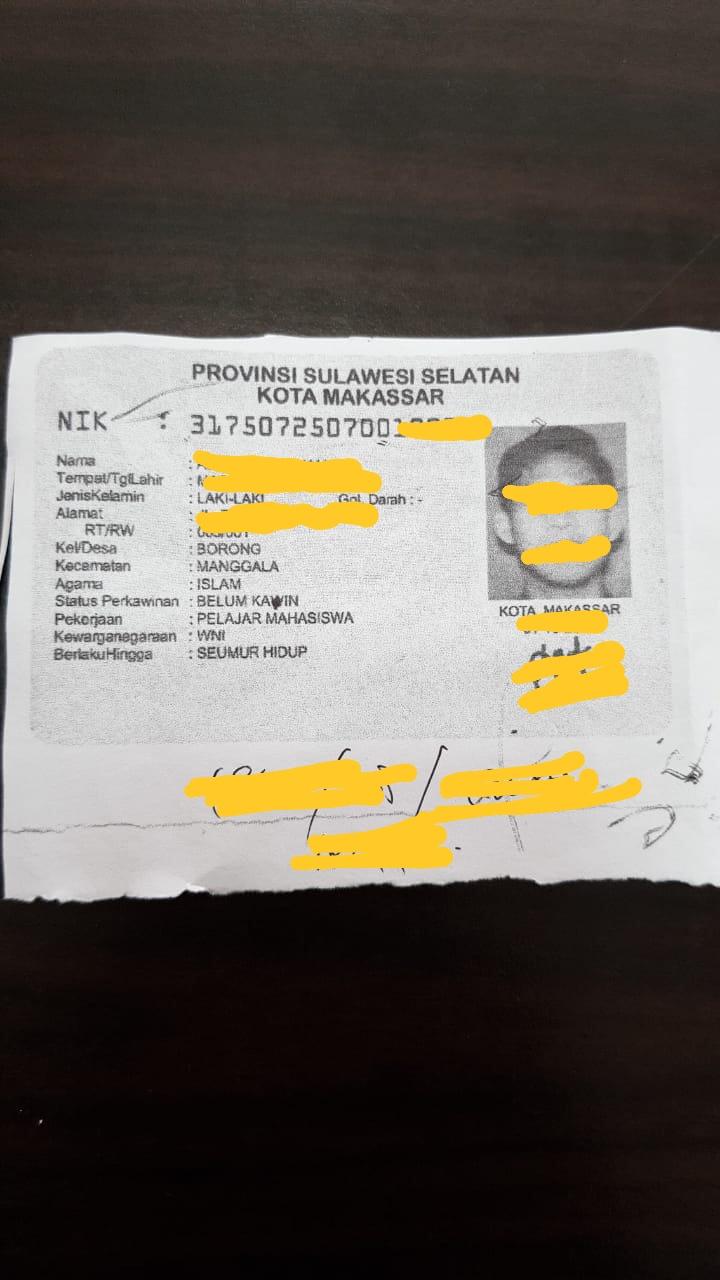 Scan KTP Berdomisili DKI Jakarta Yang Di Edit Menjadi KTP Sulawesi Selatan (Foto/Ist)